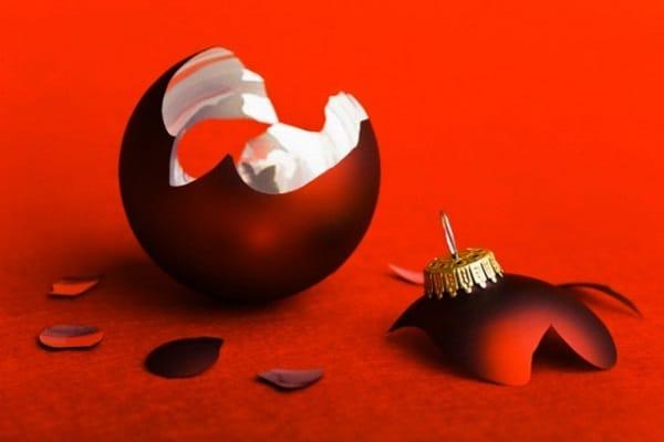 broken christmas bulb