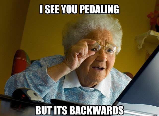 Content marketing meme with old lady looking at computer, pedaling backwards.