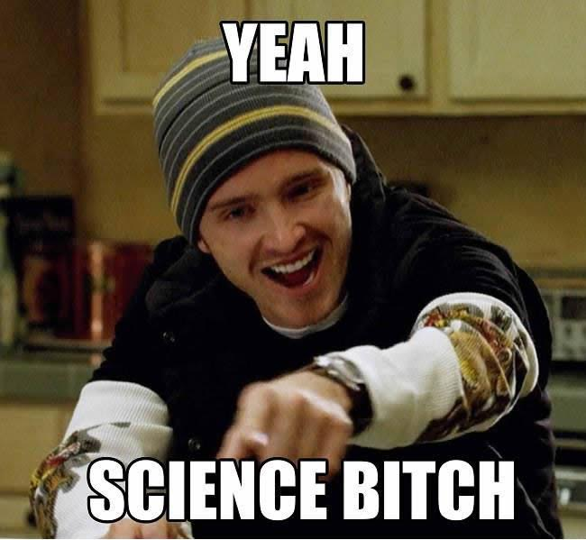 Content marketing meme about science.