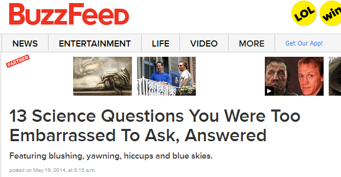 Picture of BuzzFeed headline for SEO value.