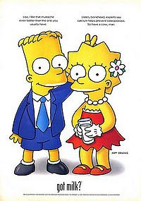 Got Milk marketing with Bart and Lisa Simpson