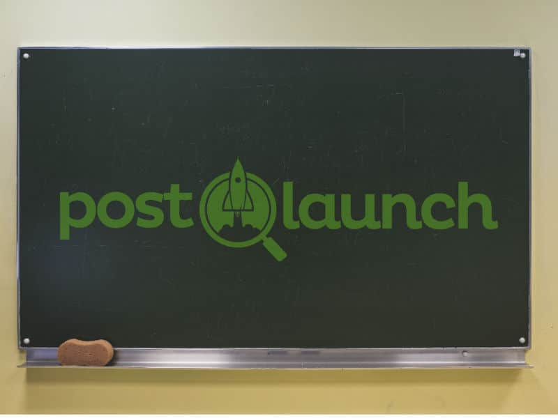post launch chalkboard