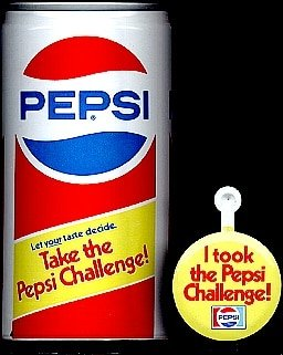 Bottle of Pepsi for Pepsi challenge marketing campaign.