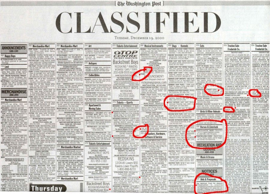 newspaper classifieds and ads for traditional marketing