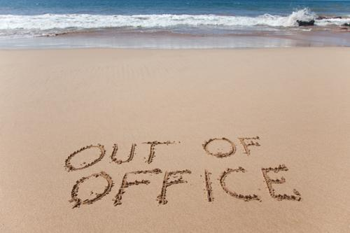 out of office beach sand