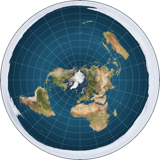 What the flat earth looks like according to flat earthers and traditional marketers.