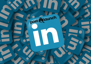 LinkedIn social media icon with Post Launch logo