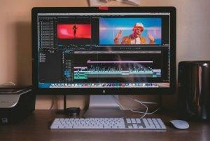 Video editing software displayed on a Mac desktop