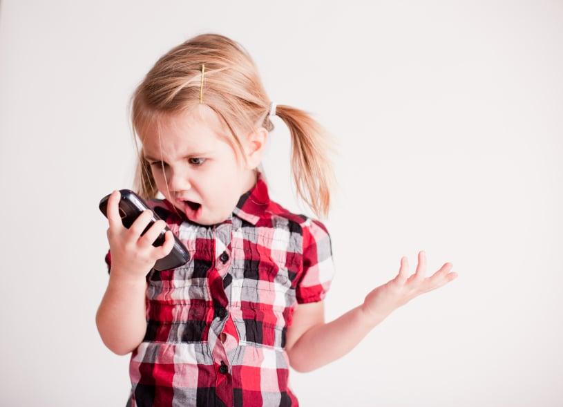 Confused kid on the phone